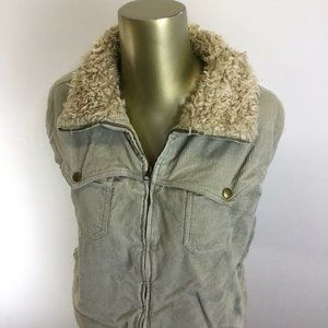 MAURICES Full Zip Up Fur Trimmed Collar Gray